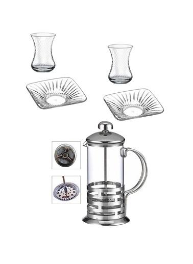Emre Züccaciye Emr Çay Seti Takımı - French Press Çay Bardak - Çay Tabağı Takımı 13 Prç. Renkli